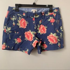 Red Camel Floral Navy French Rose Shorts